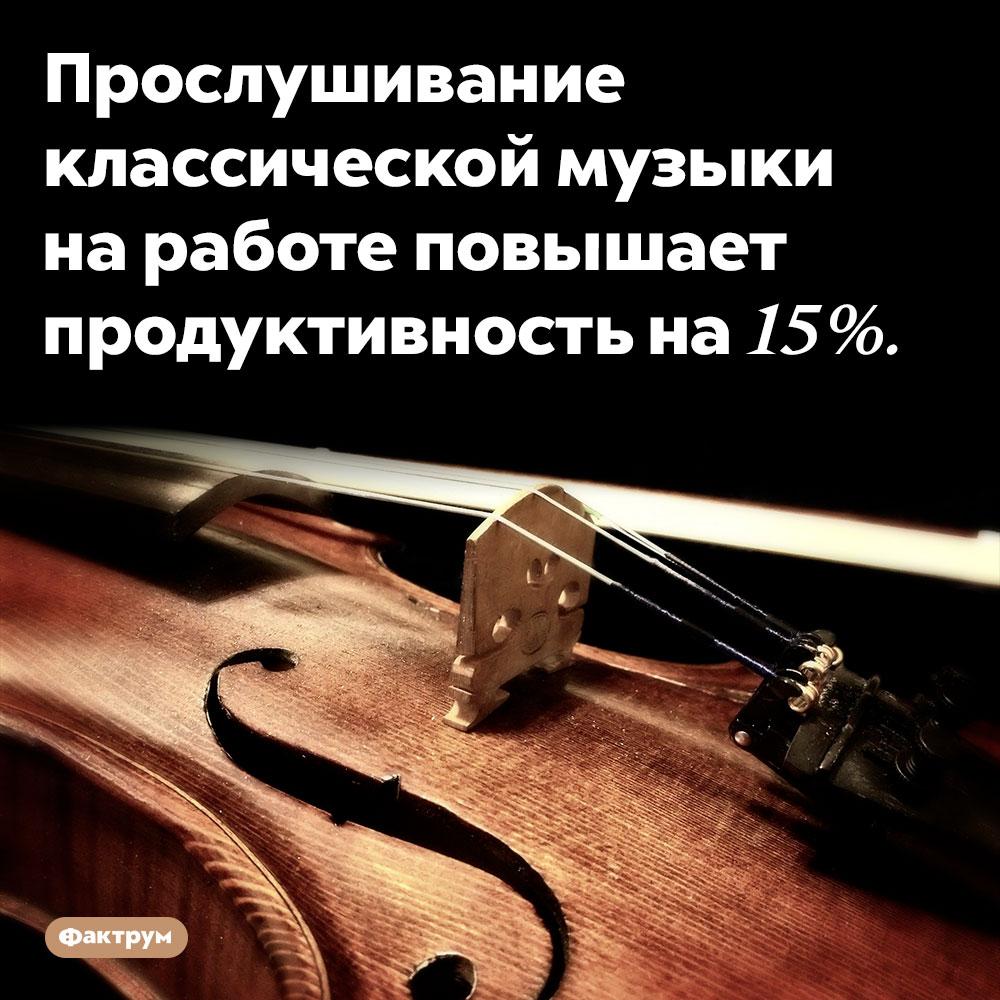 Классическая музыка повышает продуктивность. Прослушивание классической музыки на работе повышает продуктивность на 15%.