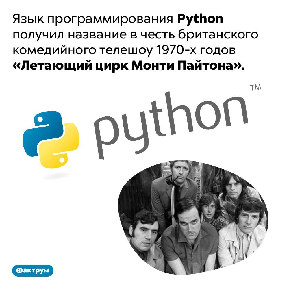 Python назвали вчесть «Монти Пайтона». Язык программирования Python получил название в честь британского комедийного телешоу 1970-х годов «Летающий цирк Монти Пайтона».