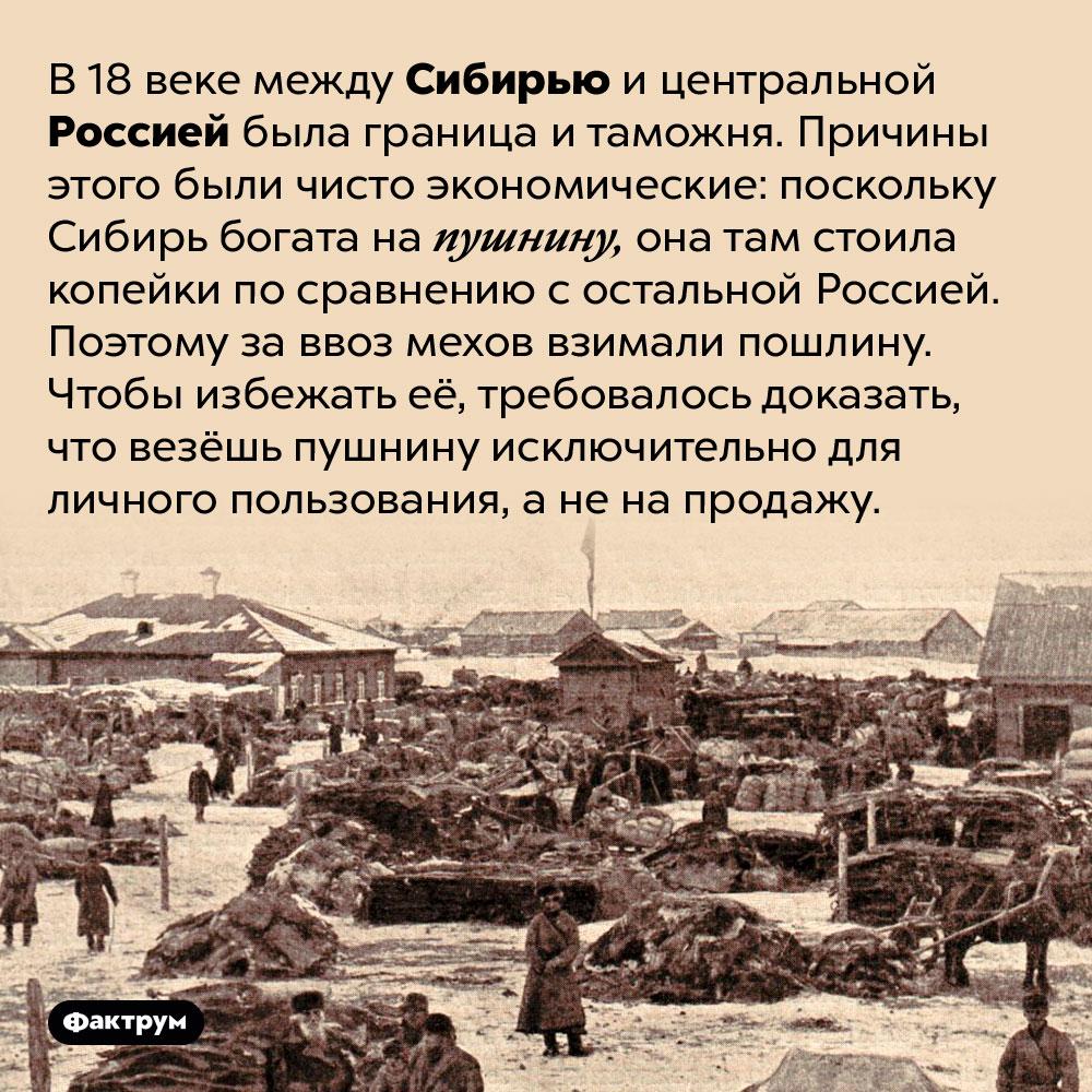 В 18веке между Сибирью иостальной Россией была таможенная граница. В 18 веке между Сибирью и центральной Россией была граница и таможня. Причины этого были чисто экономические: поскольку Сибирь богата на пушнину, она там стоила копейки по сравнению с остальной Россией. Поэтому за ввоз мехов взимали пошлину. Чтобы избежать её, требовалось доказать, что везёшь пушнину исключительно для личного пользования, а не на продажу.