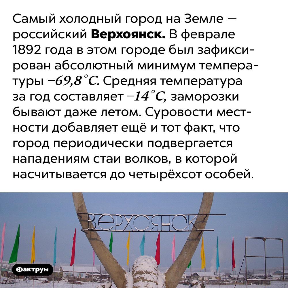 Верохоянск — самый холодный город наЗемле. Самый холодный город на Земле — российский Верхоянск. В феврале 1892 года в этом городе был зафиксирован абсолютный минимум температуры −69,8 °C. Средняя температура за год составляет −14 °C, заморозки бывают даже летом. Суровости местности добавляет ещё и тот факт, что город периодически подвергается нападениям стаи волков, в которой насчитывается до четырёхсот особей.
