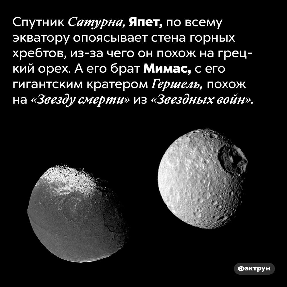 На что похожи спутники Сатурна. Спутник Сатурна, Япет, по всему экватору опоясывает стена горных хребтов, из-за чего он похож на грецкий орех. А его брат Мимас, с его гигантским кратером Гершель, похож на «Звезду смерти» из «Звездных войн».