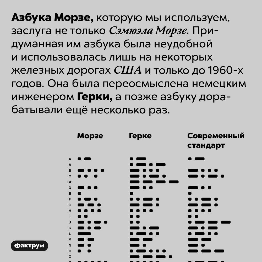 Азбуку Морзе разработал нетолько Морзе. Азбука Морзе, которую мы используем, заслуга не только Сэмюэла Морзе. Придуманная им азбука была неудобной и использовалась лишь на некоторых железных дорогах США и только до 1960-х годов. Она была переосмыслена немецким инженером Герки, а позже азбуку дорабатывали ещё несколько раз.