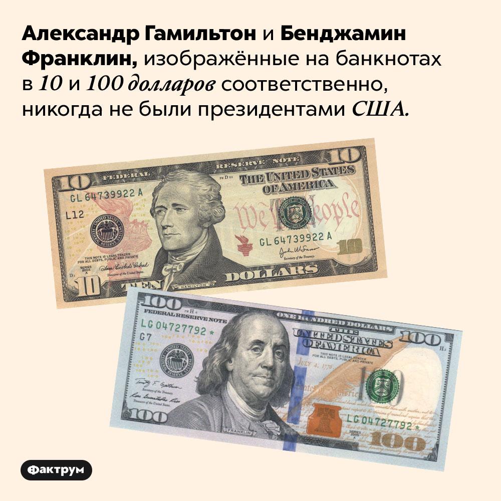 Гамильтон иФранклин не были президентами США, ноих портреты есть надолларах. Александр Гамильтон и Бенджамин Франклин, изображённые на банкнотах в 10 и 100 долларов соответственно, никогда не были президентами США.