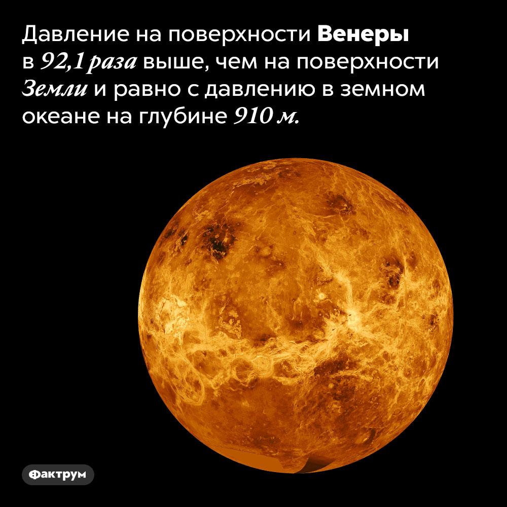 У Венеры высокое давление. Давление на поверхности Венеры в 92,1 выше, чем на поверхности Земли и равно с давлению в земном океане на глубине 910 м.