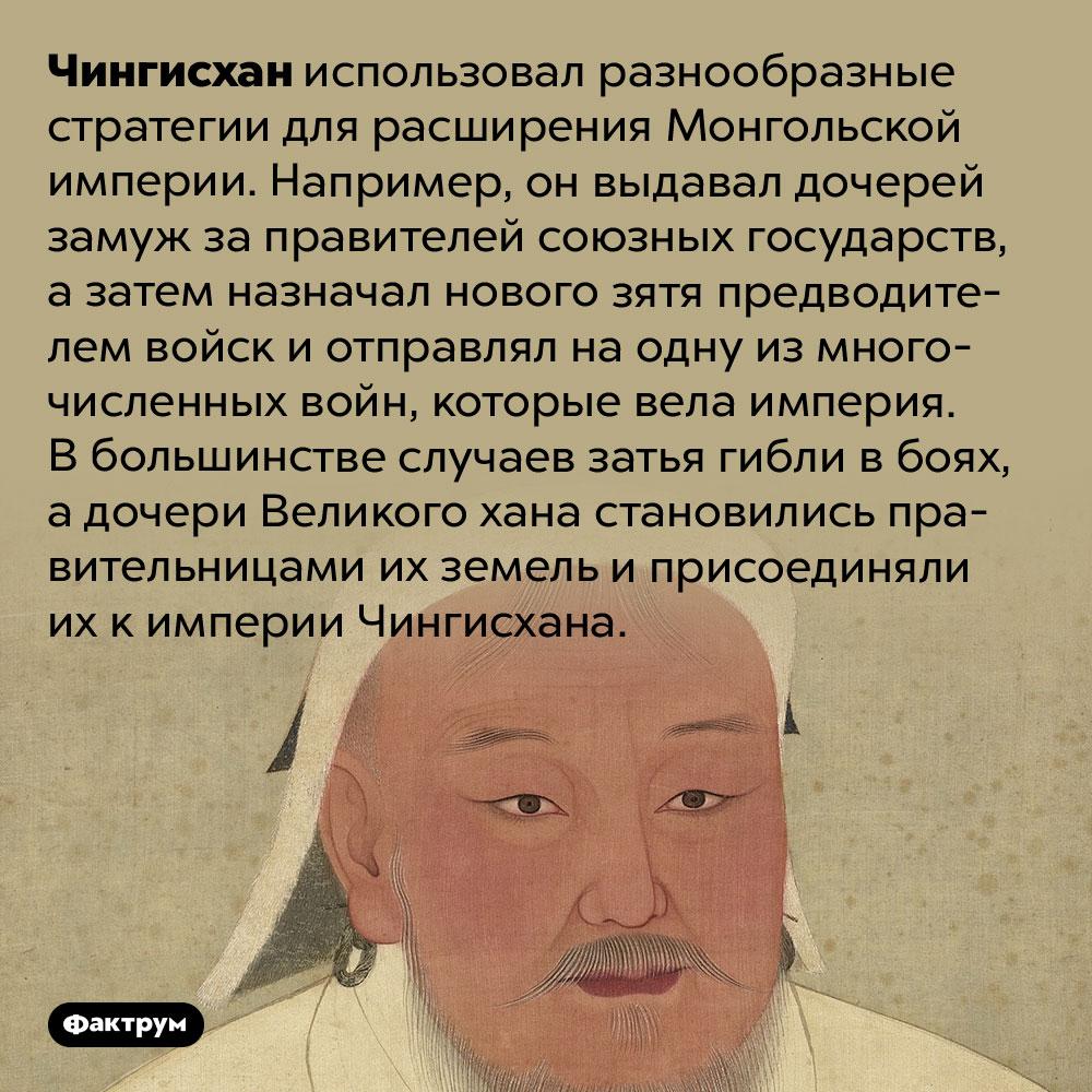 Чингисхан завоёвывал новые земли, убивая своих зятей. Чингисхан использовал разнообразные стратегии для расширения Монгольской империи. Например, он выдавал дочерей замуж за правителей союзных государств, а затем назначал нового зятя предводителем войск и отправлял на одну из многочисленных войн, которые вела империя. В большинстве случаев затья гибли в боях, а дочери Великого хана становились правительницами их земель и присоединяли их к империи Чингисхана.
