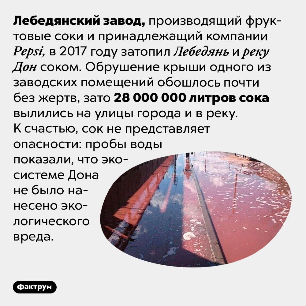 Лебедянский завод вылил вДон 27миллионов литров фруктового сока. Лебедянский завод, производящий фруктовые соки и принадлежащий компании Pepsi, в 2017 году затопил Лебедянь и реку Дон соком. Обрушение крыши одного из заводских помещений обошлось почти без жертв, зато 28 000 000 литров сока вылились на улицы города и в реку. К счастью, сок не представляет опасности: пробы воды показали, что экосистеме Дона не было нанесено экологического вреда.