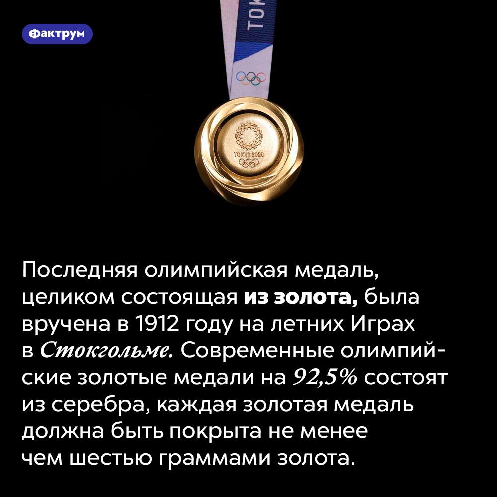 Последняя по-настоящему золотая олимпийская медаль была вручена в1912году. Последняя олимпийская медаль, целиком состоящая из золота, была вручена в 1912 году на летних Играх в Стокгольме. Современные олимпийские золотые медали на 92,5% состоят из серебра, каждая золотая медаль должна быть покрыта не менее чем шестью граммами золота.