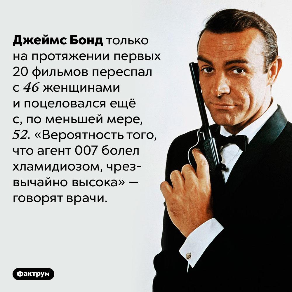 Джеймс Бонд наверняка болел хламидиозом. Джеймс Бонд только на протяжении первых 20 фильмов переспал с 46 женщинами и поцеловался ещё с, по меньшей мере, 52. «Вероятность того, что агент 007 болел хламидиозом, чрезвычайно высока» — говорят врачи.