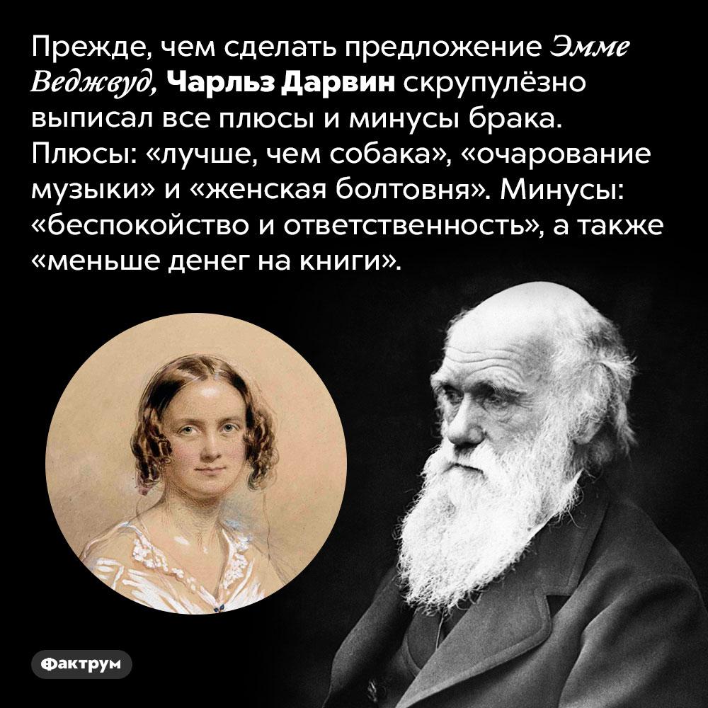 Дарвин считал, что жена лучше, чем собака. Прежде, чем сделать предложение Эмме Веджвуд, Чарльз Дарвин скрупулёзно выписал все плюсы и минусы брака. Плюсы: «лучше, чем собака», «очарование музыки» и «женская болтовня». Минусы: «беспокойство и ответственность», а также «меньше денег на книги».