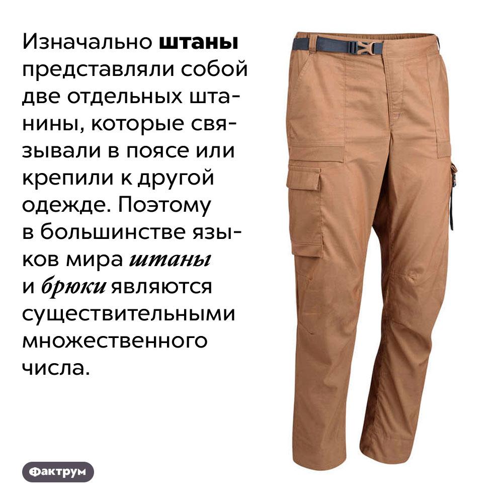 Почему слово «штаны» множественного числа?. Изначально штаны представляли собой две отдельных штанины, которые связывали в поясе или крепили к другой одежде. Поэтому в большинстве языков мира штаны и брюки являются существительными множественного числа.