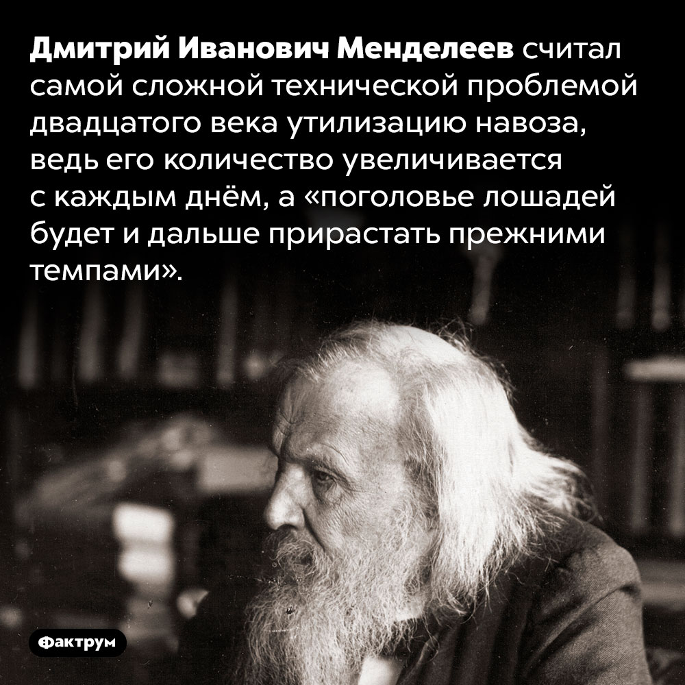 Менделеев считал навоз главной проблемой 20века. Дмитрий Иванович Менделеев считал самой сложной технической проблемой двадцатого века утилизацию навоза, ведь его количество увеличивается с каждым днём, а «поголовье лошадей будет и дальше прирастать прежними темпами».