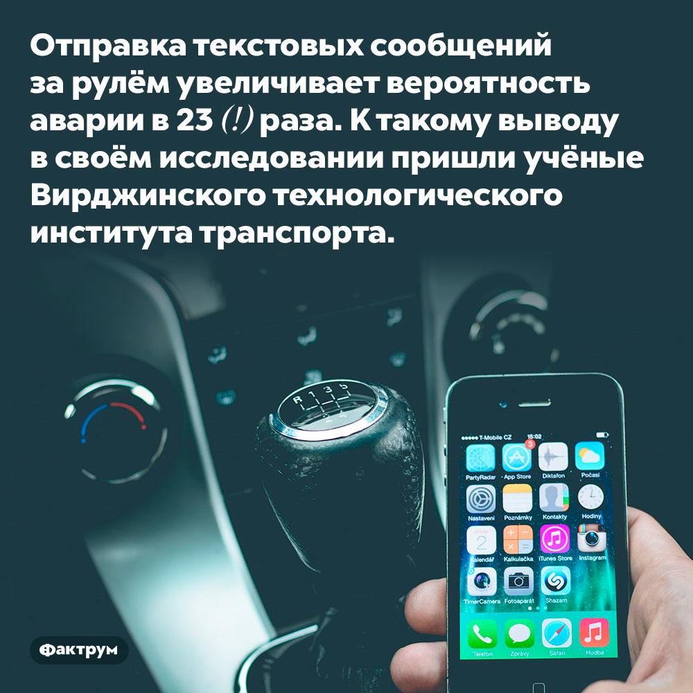 Отправка текстовых сообщений зарулём очень опасна. Отправка текстовых сообщений за рулём увеличивает вероятность аварии в 23 (!) раза. К такому выводу в своём исследовании пришли учёные Вирджинского технологического института транспорта.
