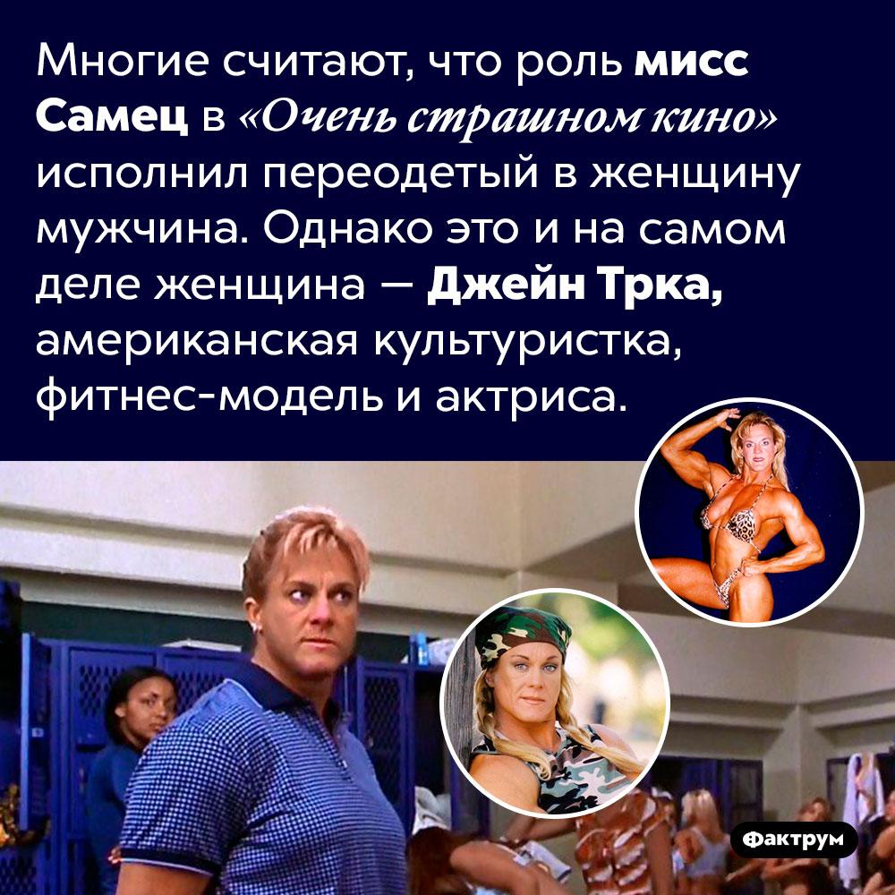 Роль мисс Самец в«Очень страшном кино» играет женщина. Многие считают, что роль мисс Самец в «Очень страшном кино» исполнил переодетый в женщину мужчина. Однако это и на самом деле женщина — Джейн Трка, американская культуристка, фитнес-модель и актриса.