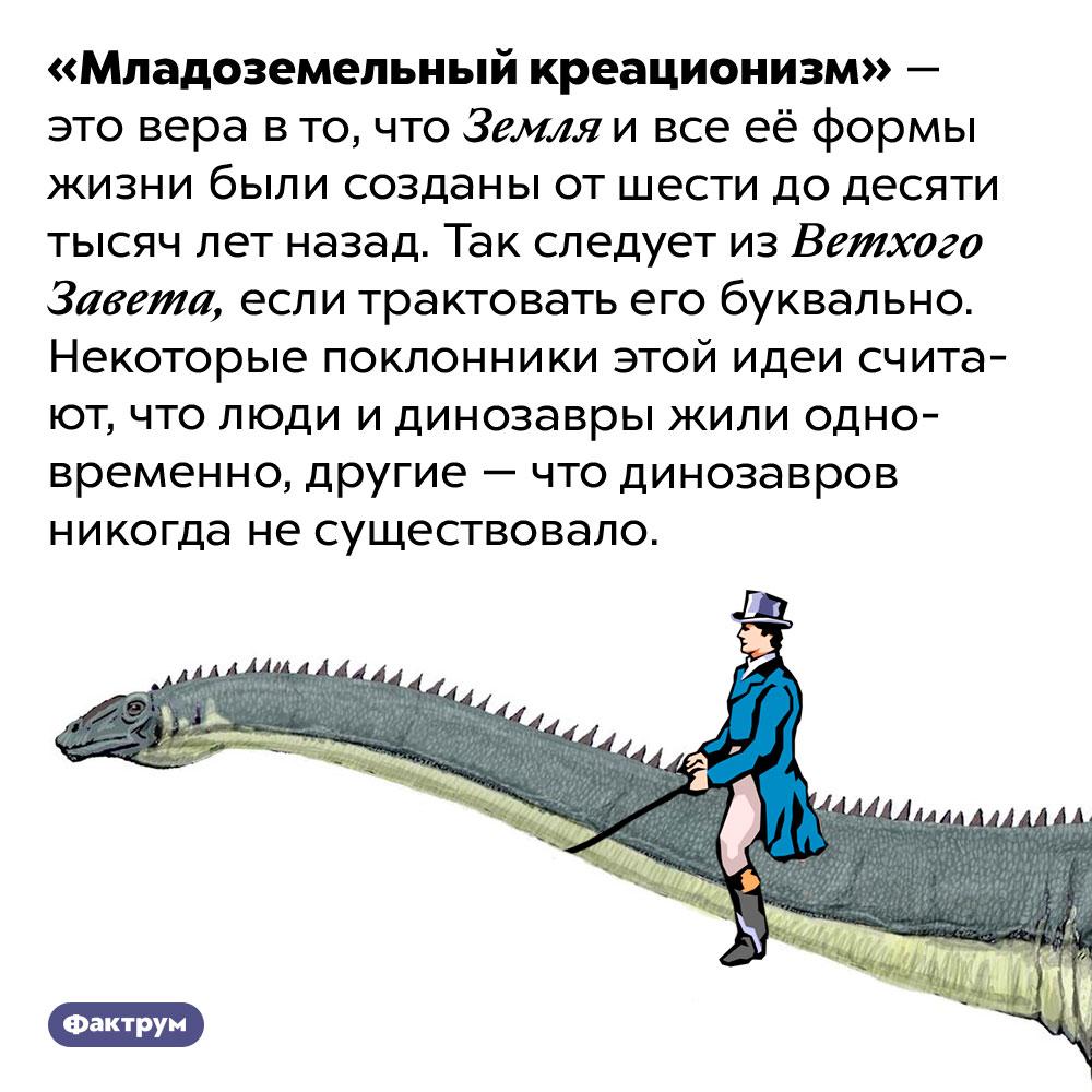 Что такое «младоземельный креационизм». «Младоземельный креационизм» — это вера в то, что Земля и все её формы жизни были созданы от шести до десяти тысяч лет назад. Так следует из Ветхого Завета, если трактовать его буквально. Некоторые поклонники этой идеи считают, что люди и динозавры жили одновременно, другие — что динозавров никогда не существовало.