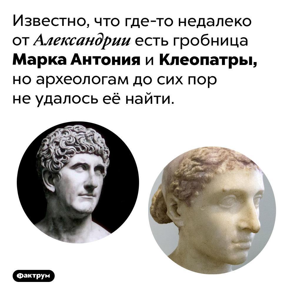 Гробница Марка Антония иКлеопатры досих пор ненайдена. Известно, что где-то недалеко от Александрии есть гробница Марка Антония и Клеопатры, но археологам до сих пор не удалось её найти.