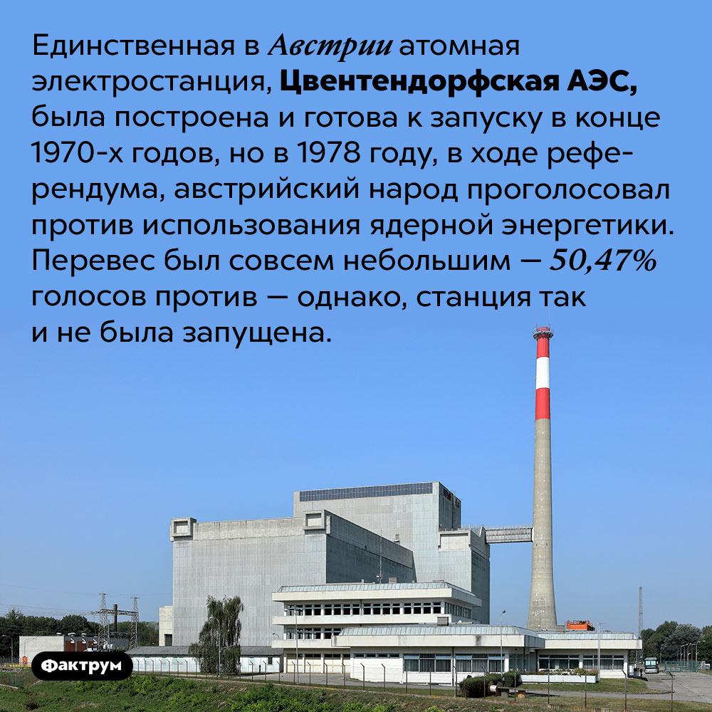 Почему единственную АЭСвАвстрии так инезапустили?. Единственная в Австрии атомная электростанция, Цвентендорфская АЭС, была построена и готова к запуску в конце 1970-х годов, но в 1978 году, в ходе референдума, австрийский народ проголосовал против использования ядерной энергетики. Перевес был совсем небольшим — 50,47% голосов против — однако, станция так и не была запущена.