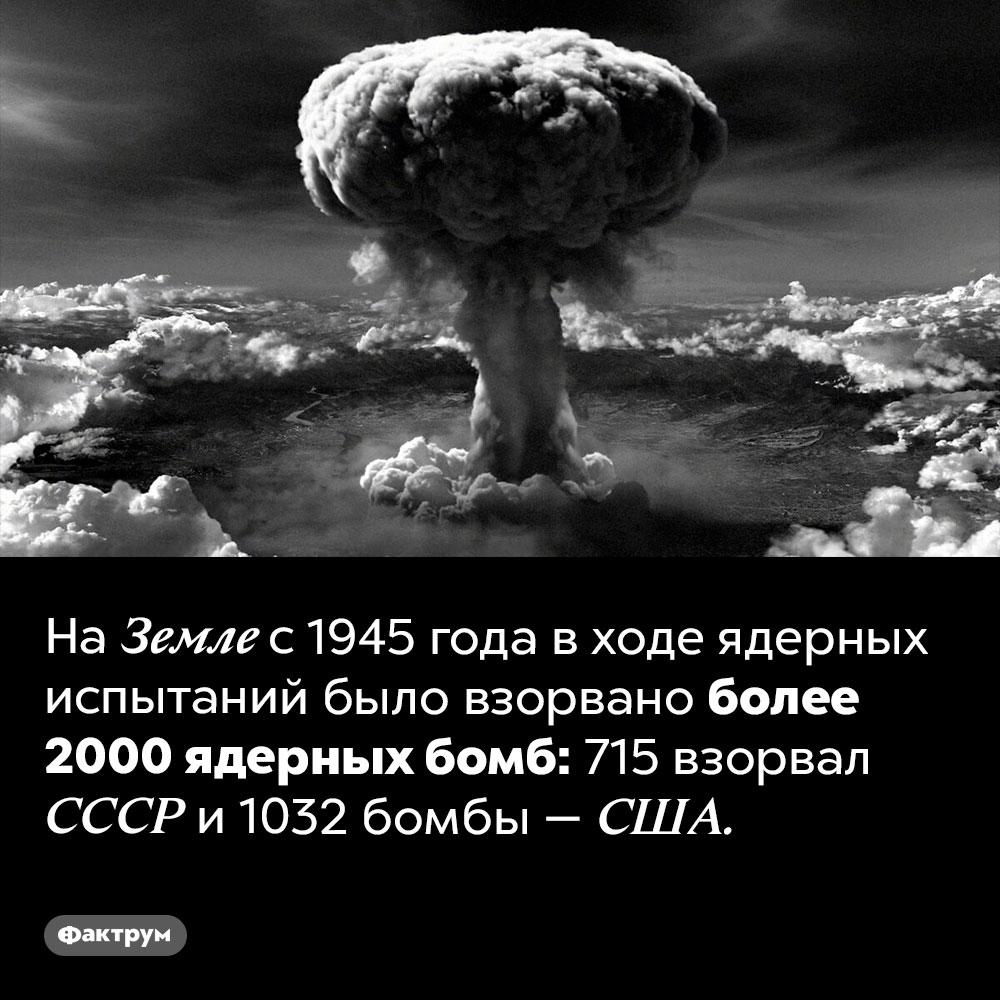 Человечество взорвало более 2000ядерных бомб. На Земле с 1945 года в ходе ядерных испытаний было взорвано более 2000 ядерных бомб: 715 взорвал СССР и 1032 бомбы — США.