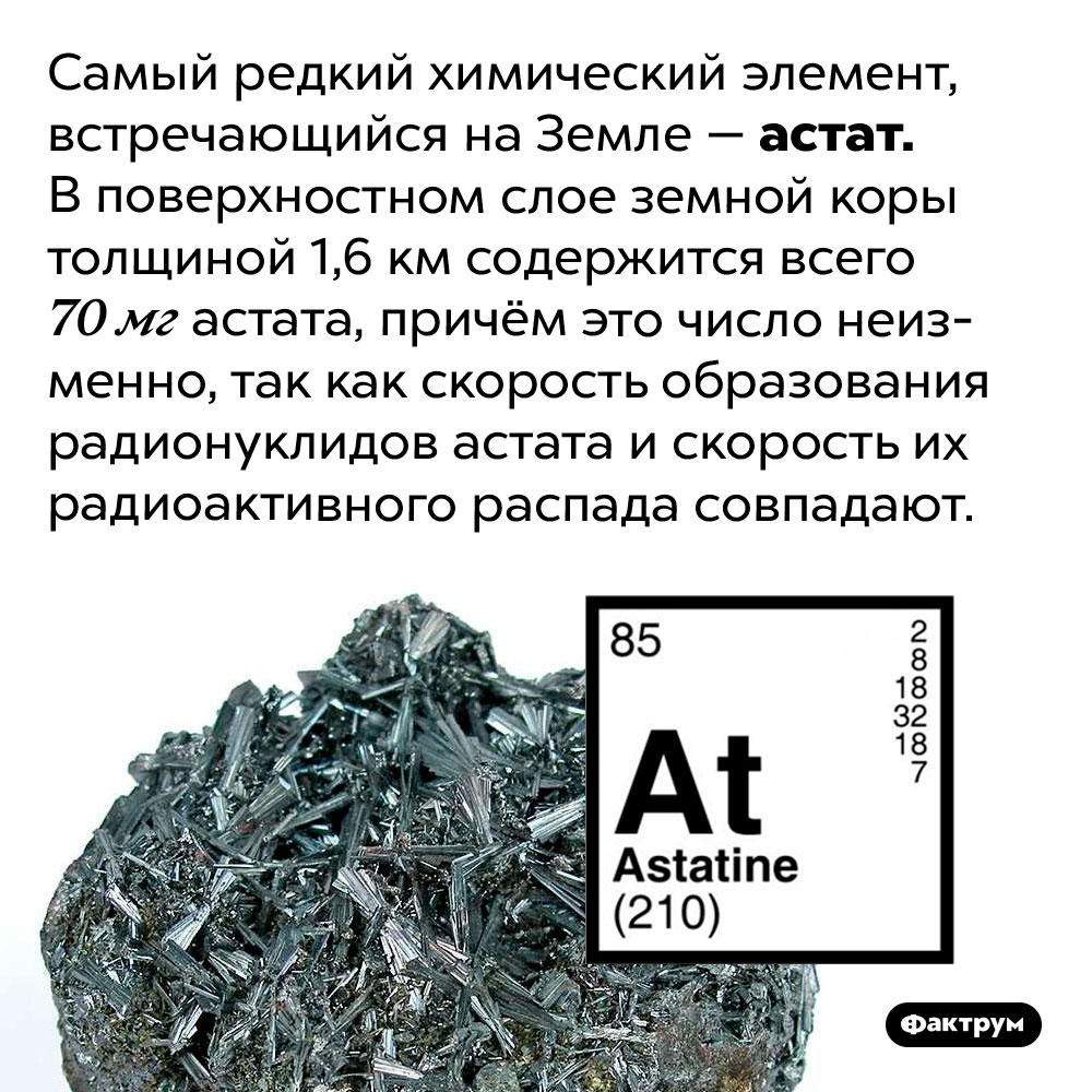 Самый редкий химический элемент наЗемле — астат. Самый редкий химический элемент, встречающийся на Земле — астат. В поверхностном слое земной коры толщиной 1,6 км содержится всего 70 мг астата, причём это число неизменно, так как скорость образования радионуклидов астата и скорость их радиоактивного распада совпадают.