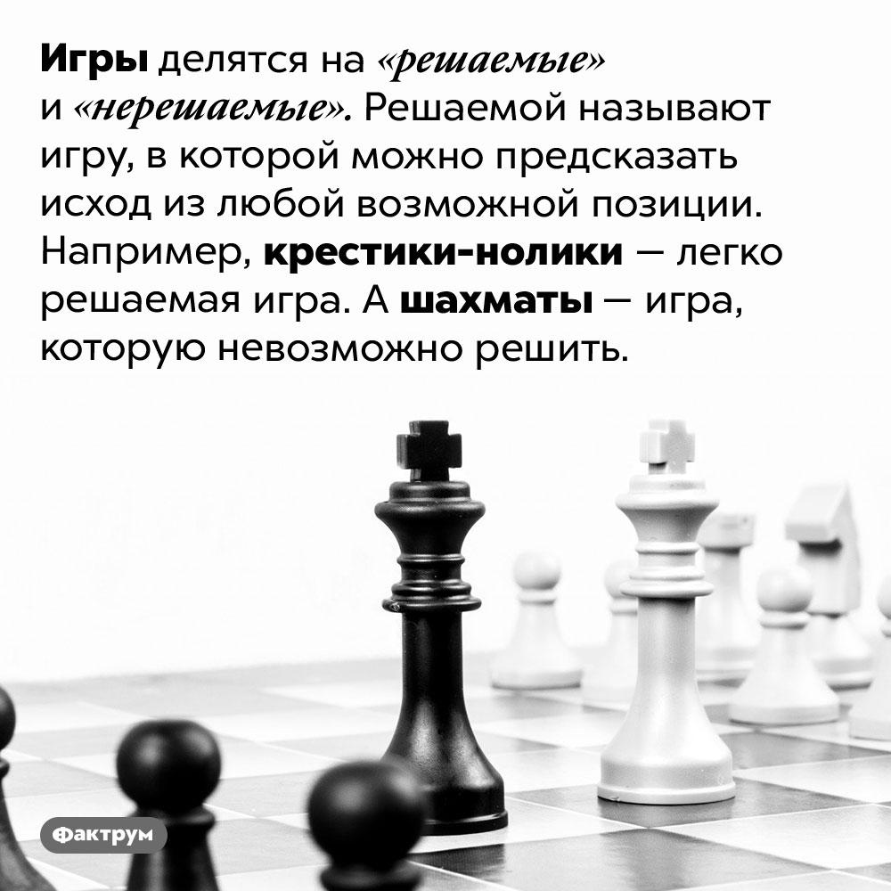 Игры бывают решаемые инерешаемые. Игры делятся на «решаемые» и «нерешаемые». Решаемой называют игру, в которой можно предсказать исход из любой возможной позиции. Например, крестики-нолики — легко решаемая игра. А шахматы — игра, которую невозможно решить.