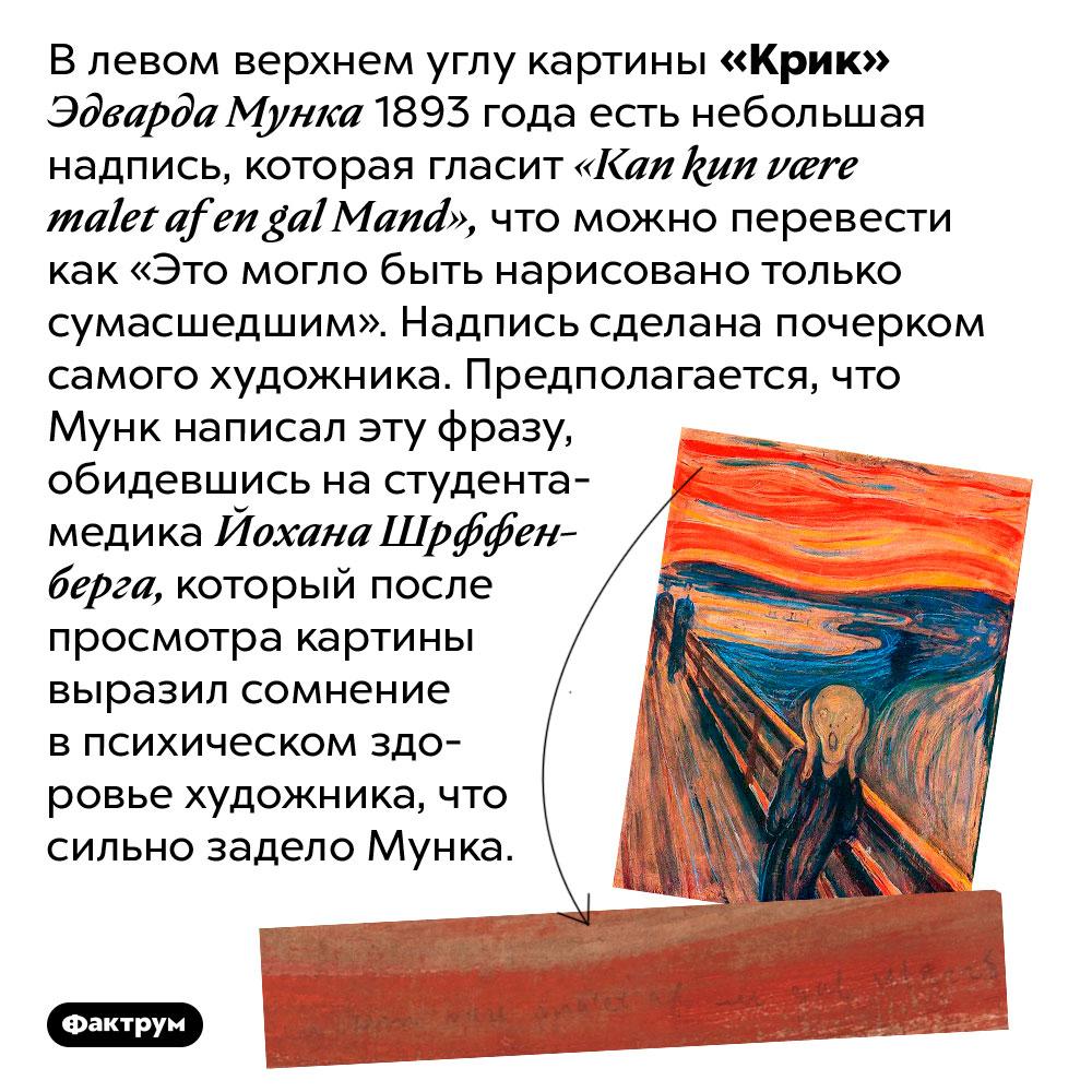 Влевом верхнем углу картины «Крик» 1893года есть небольшая надпись. В левом верхнем углу картины «Крик» Эдварда Мунка 1893 года есть небольшая надпись, которая гласит «Kan kun være malet af en gal Mand», что можно перевести как «Это могло быть нарисовано только сумасшедшим». Надпись сделана почерком самого художника. Предполагается, что Мунк написал эту фразу, обидевшись на студента-медика Йохана Шрффенберга, который после просмотра картины выразил сомнение в психическом здоровье художника, что сильно задело Мунка.