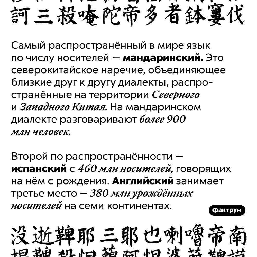 Английский язык занимает только третье число вмире поколичеству урождённых носителей. Самый распространённый в мире язык по числу носителей — мандаринский. Это северокитайское наречие, объединяющее близкие друг к другу диалекты, распространённые на территории Северного и Западного Китая. На мандаринском диалекте разговаривают более 900 млн человек. Второй по распространённости — испанский с 460 млн носителей, говорящих на нём с рождения. Английский занимает третье место — 380 урождённых носителей на семи континентах.