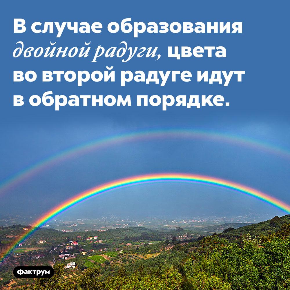 Вдвойной радуге вторая радуга зеркальна поотношению кпервой. В случае образования двойной радуги, цвета во второй радуге идут в обратном порядке.