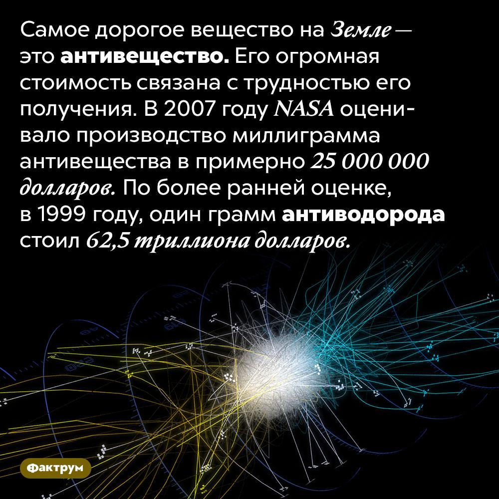 Антивещество является самой дорогой субстанцией наЗемле. Самое дорогое вещество на Земле — это антивещество. Его огромная стоимость связана с трудностью его получения. В 2007 году NASA оценивало производство миллиграмма антивещества в примерно 25 000 000 долларов. По более ранней оценке, в 1999 году, один грамм антиводорода стоил 62,5 триллиона долларов.