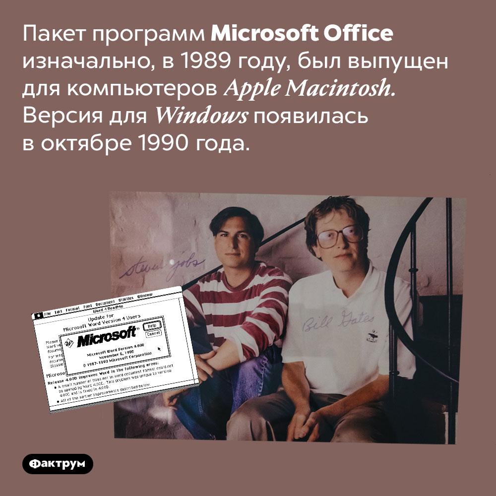 Программы Microsoft Office изначально предназначались для Apple. Пакет программ Microsoft Office изначально, в 1989 году, был выпущен для компьютеров Apple Macintosh. Версия для Windows появилась в октябре 1990 года.