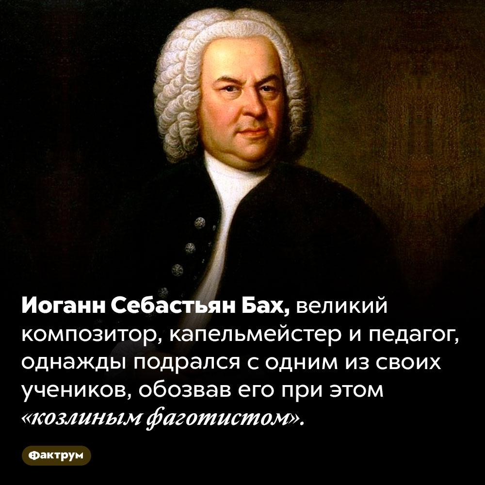 Однажды Бах подрался сосвоим учеником. Иоганн Себастьян Бах, великий композитор, капельмейстер и педагог, однажды подрался с одним из своих учеников, обозвав его при этом «козлиным фаготистом».