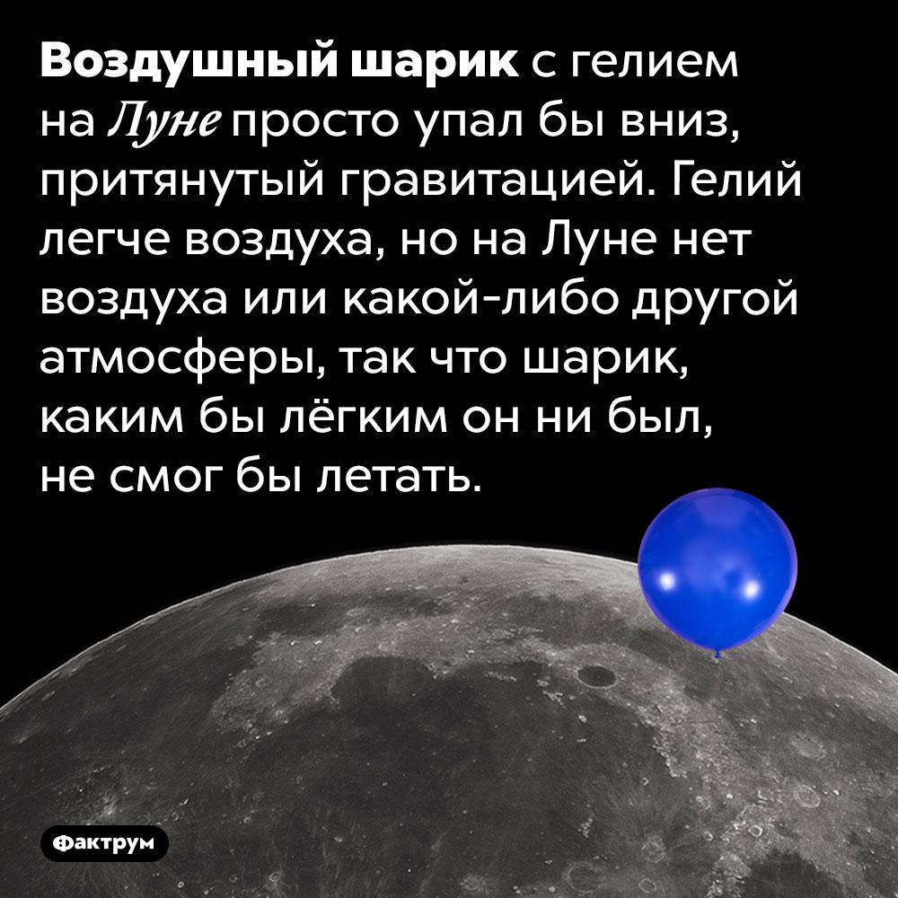 Мог бы воздушный шарик, наполненный гелием, летать наЛуне?. Воздушный шарик с гелием на Луне просто упал бы вниз, притянутый гравитацией. Гелий легче воздуха, но на Луне нет воздуха или какой-либо другой атмосферы, так что шарик, каким бы лёгким он ни был, не смог бы летать.