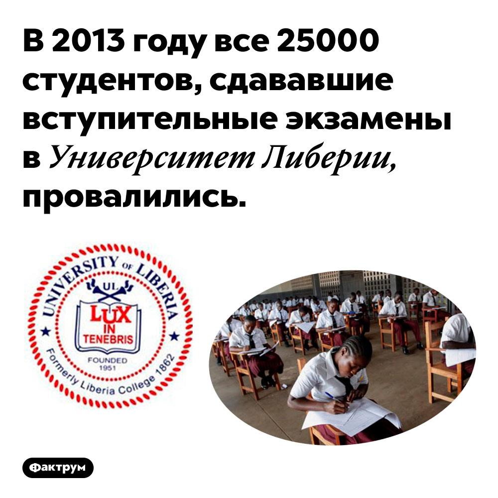 В2013году 100%абитуриентов Университета Либерии провалились навступительных экзаменах. В 2013 году все 25000 студентов, сдававшие вступительные экзамены в Университет Либерии, провалились.
