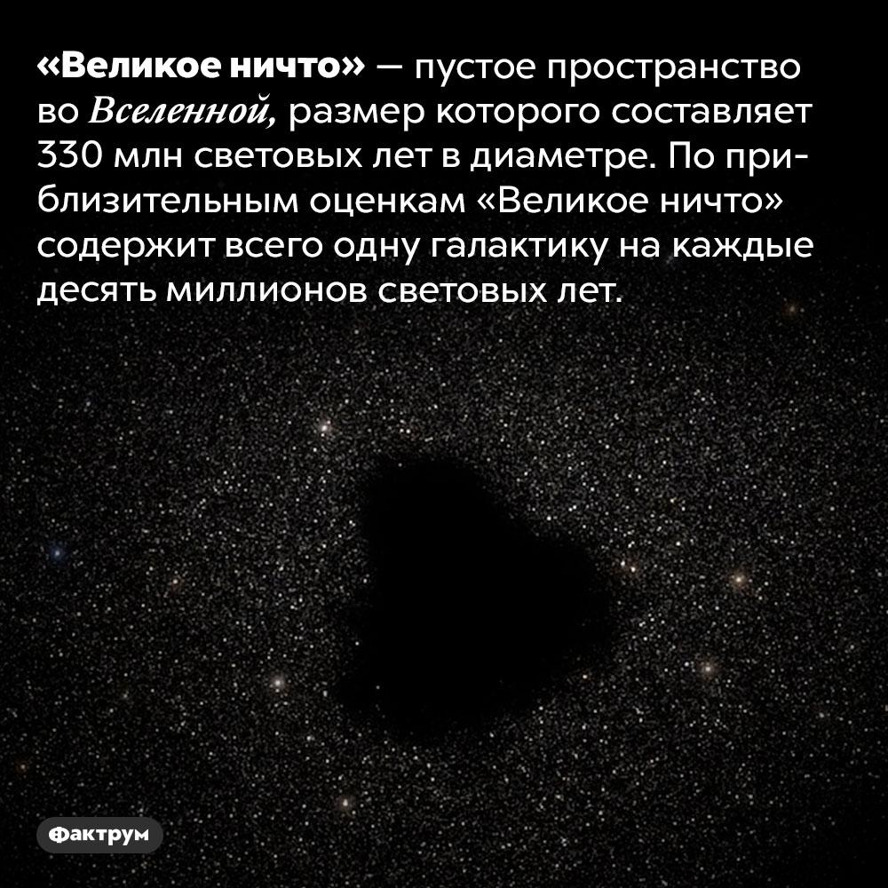 Что такое «Великое ничто». «Великое ничто» — пустое пространство во Вселенной, размер которого составляет 330 млн световых лет в диаметре. По приблизительным оценкам «Великое ничто» содержит всего одну галактику на каждые десять миллионов световых лет.
