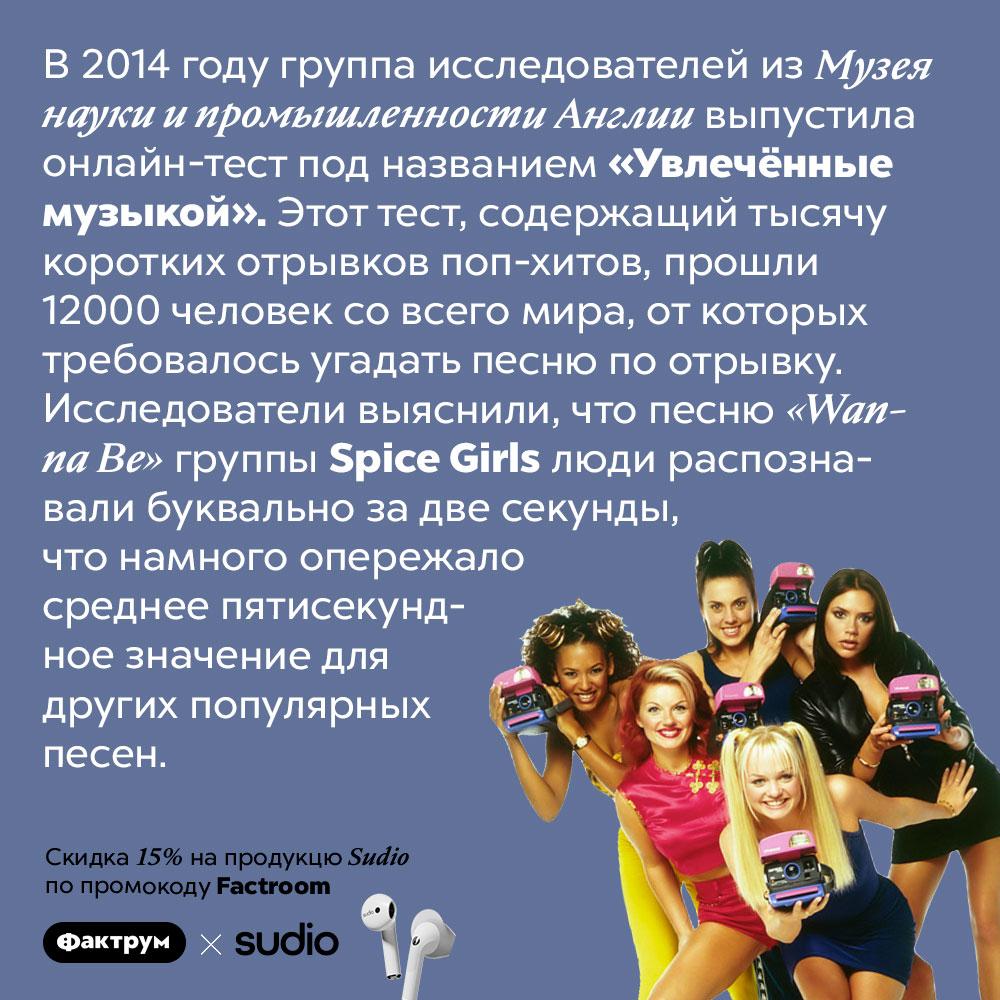 <em>«Wanna Be»</em> группы <em>Spice Girls</em> — самая запоминающаяся песня всех времен. В 2014 году группа исследователей из Музея науки и промышленности Англии выпустила онлайн-тест под названием «Увлечённые музыкой». Этот тест, содержащий тысячу коротких отрывков поп-хитов, прошли 12000 человек со всего мира, от которых требовалось угадать песню по отрывку. Исследователи выяснили, что песню <em>«Wanna Be»</em> группы <em>Spice Girls</em> люди распознавали буквально за две секунды, что намного опережало среднее пятисекундное значение для других популярных песен.