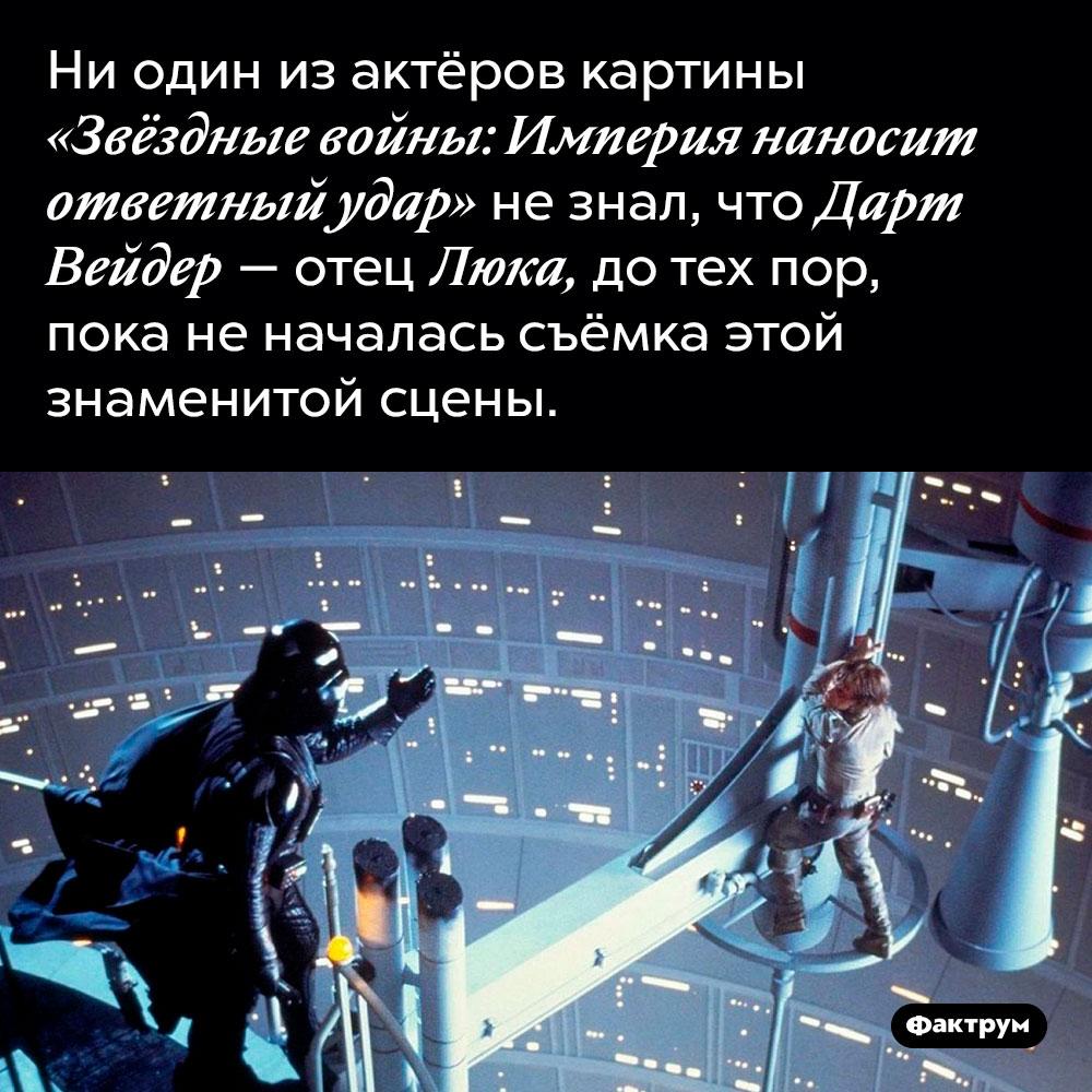 Актёры «Звёздных войн» недогадывались что Дарт Вейдер — отец Люка. Ни один из актёров картины «Звёздные войны: Империя наносит ответный удар» не знал, что Дарт Вейдер — отец Люка, до тех пор, пока не началась съёмка этой знаменитой сцены.