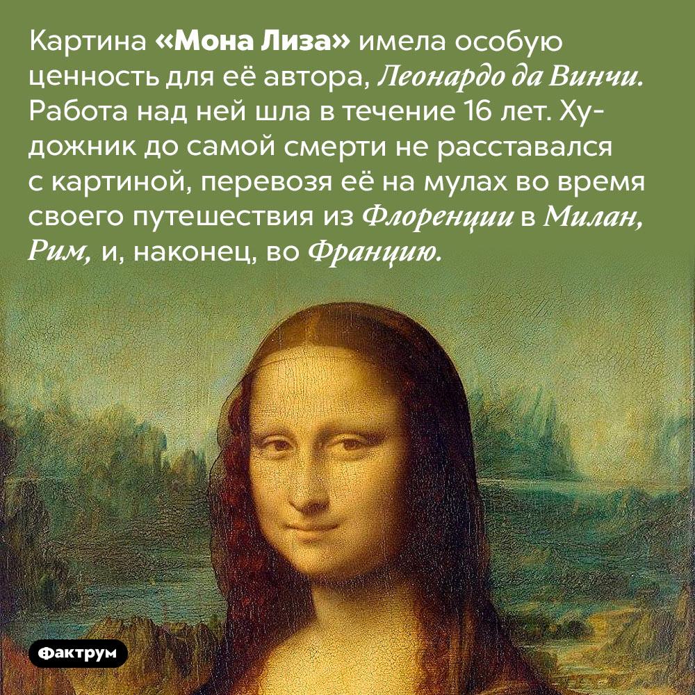 Леонардо да Винчи всюду возил «Мону Лизу» ссобой. Картина «Мона Лиза» имела особую ценность для её автора, Леонардо да Винчи. Работа над ней шла в течение 16 лет. Художник до самой смерти не расставался с картиной, перевозя её на мулах во время своего путешествия из Флоренции в Милан, Рим, и, наконец, во Францию.