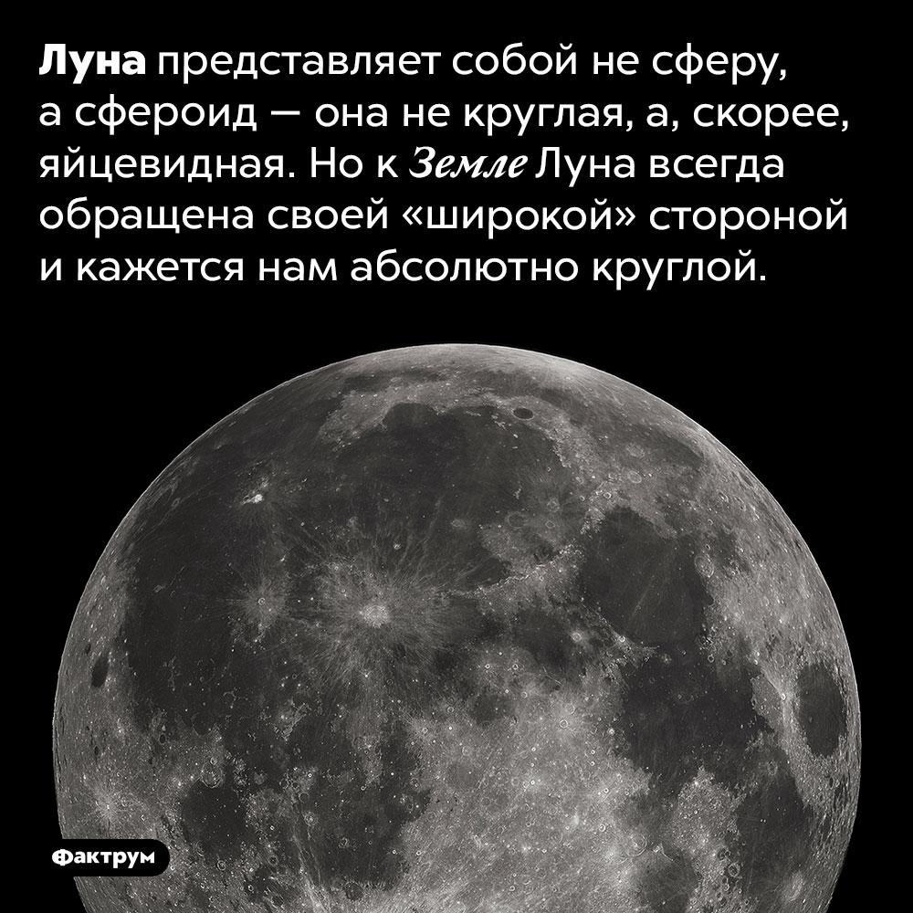 Луна похожа наяйцо. Луна представляет собой не сферу, а сфероид — она не круглая, а, скорее, яйцевидная. Но к Земле Луна всегда обращена своей «широкой» стороной и кажется нам абсолютно круглой.