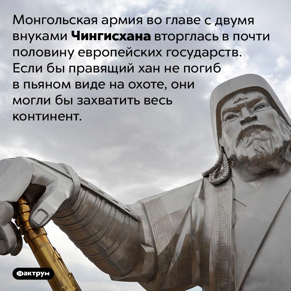 Внуки Чингисхана захватили пол-Европы. Монгольская армия во главе с двумя внуками Чингисхана вторглась в почти половину европейских государств. Если бы правящий хан не погиб в пьяном виде на охоте, они могли бы захватить весь континент.