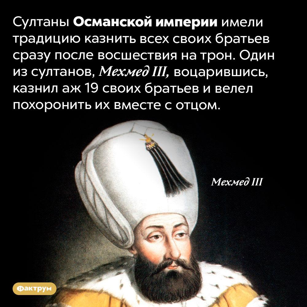 Султаны Османской империи неоставляли вживых своих братьев. Султаны Османской империи имели традицию казнить всех своих братьев сразу после восшествия на трон. Один из султанов, Мехмед III, воцарившись, казнил аж 19 своих братьев и велел похоронить их вместе с отцом.