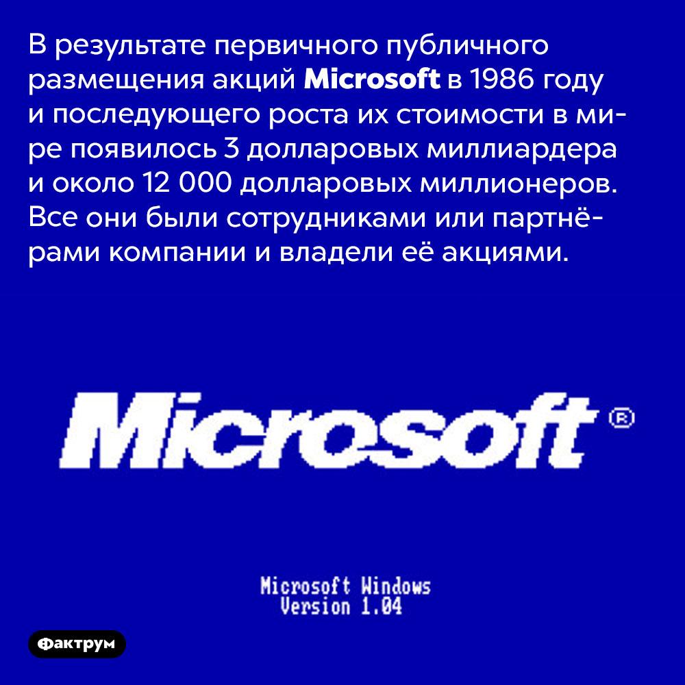 Когда <em>Microsoft</em> разместила акции набирже в1986году, 12000 её сотрудников стали миллионерами. В результате первичного публичного размещения акций <em>Microsoft</em> в 1986 году и последующего роста их стоимости в мире появилось 3 долларовых миллиардера и около 12 000 долларовых миллионеров. Все они были сотрудниками или партнёрами компании и владели её акциями.