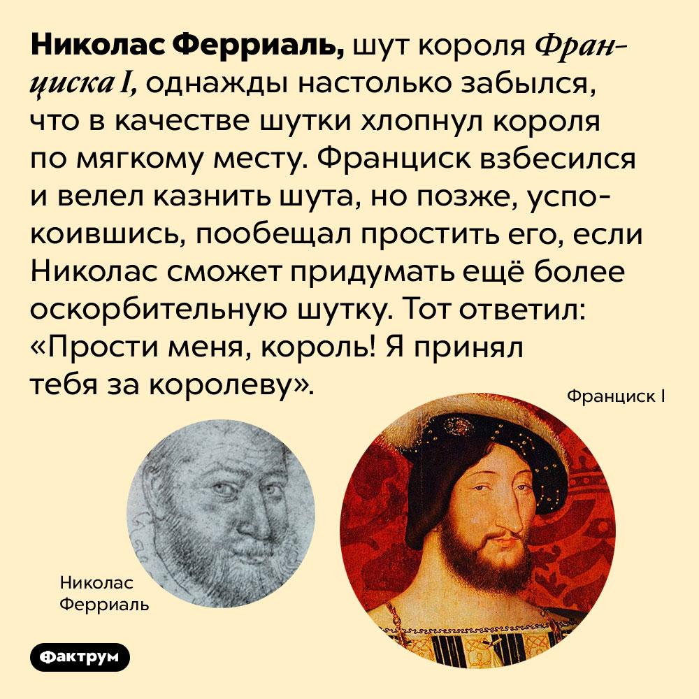 Шут короля ФранцискаI был очень находчивым. Николас Ферриаль, шут короля Франциска I, однажды настолько забылся, что в качестве шутки хлопнул короля по мягкому месту. Франциск взбесился и велел казнить шута, но позже, успокоившись, пообещал простить его, если Николас сможет придумать ещё более оскорбительную шутку. Тот ответил: «Прости меня, король! Я принял тебя за королеву».