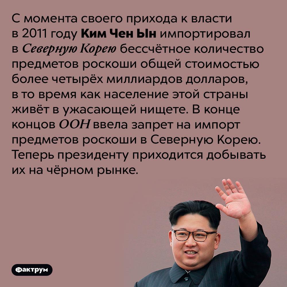 Ким Чен Ын очень жаден допредметов роскоши. С момента своего прихода к власти в 2011 году Ким Чен Ын импортировал в Северную Корею бессчётное количество предметов роскоши общей стоимостью более четырёх миллиардов долларов, в то время как население этой страны живёт в ужасающей нищете. В конце концов ООН ввела запрет на импорт предметов роскоши в Северную Корею. Теперь президенту приходится добывать их на чёрном рынке.