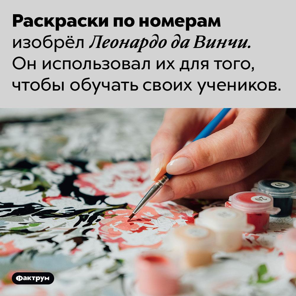 Изобретатель раскрасок пономерам — Леонардо даВинчи. Раскраски по номерам изобрёл Леонардо да Винчи. Он использовал их для того, чтобы обучать своих учеников.