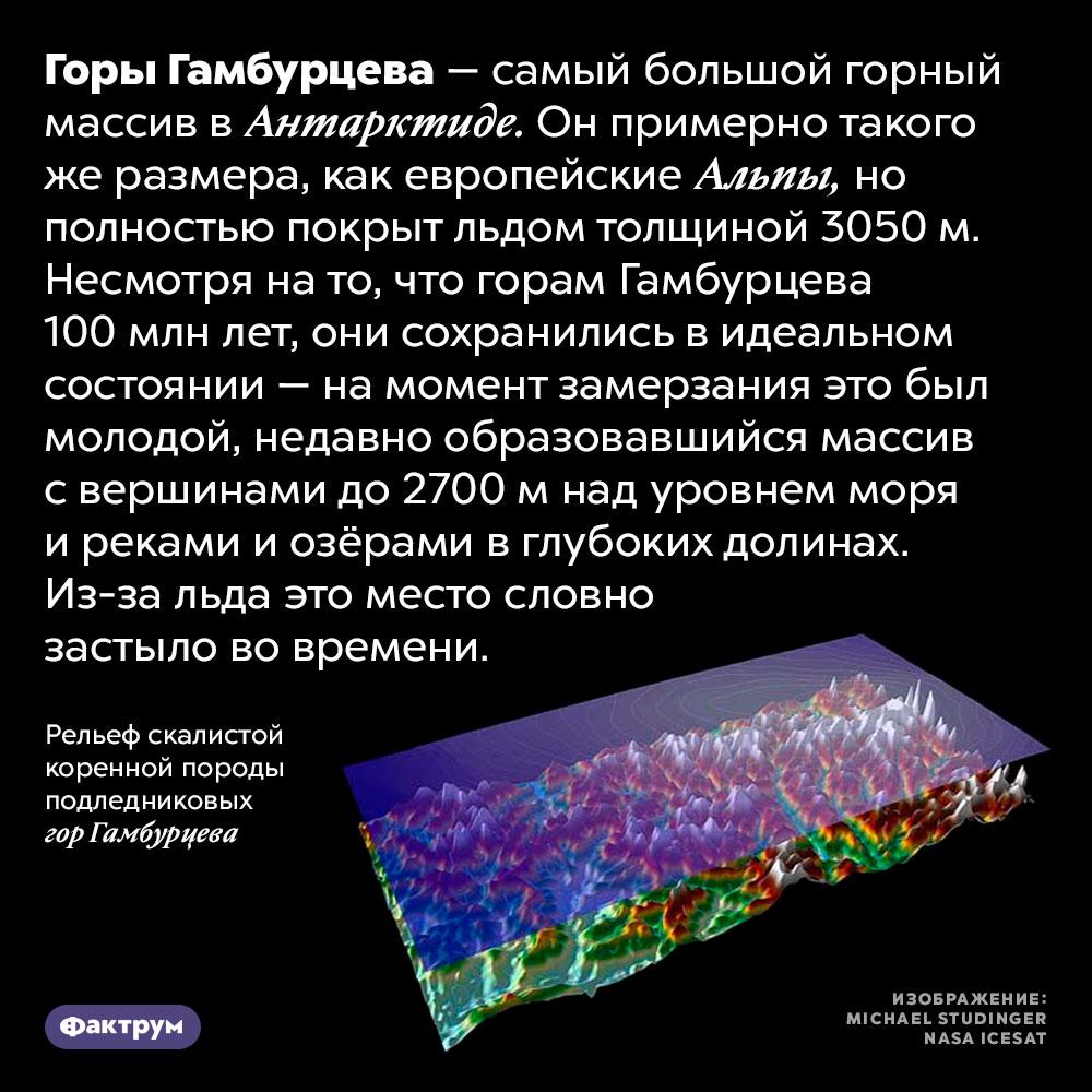 Горы Гамбурцева застыли вовремени. Горы Гамбурцева — самый большой горный массив в Антарктиде. Он примерно такого же размера, как европейские Альпы, но полностью покрыт льдом толщиной 3050 м. Рассмотреть его можно только с воздуха. Несмотря на то, что горам Гамбурцева 100 млн лет, они сохранились в идеальном состоянии — на момент замерзания это был молодой, недавно образовавшийся массив с вершинами до 2700 м над уровнем моря и реками и озёрами в глубоких долинах. Из-за льда это место словно застыло во времени.