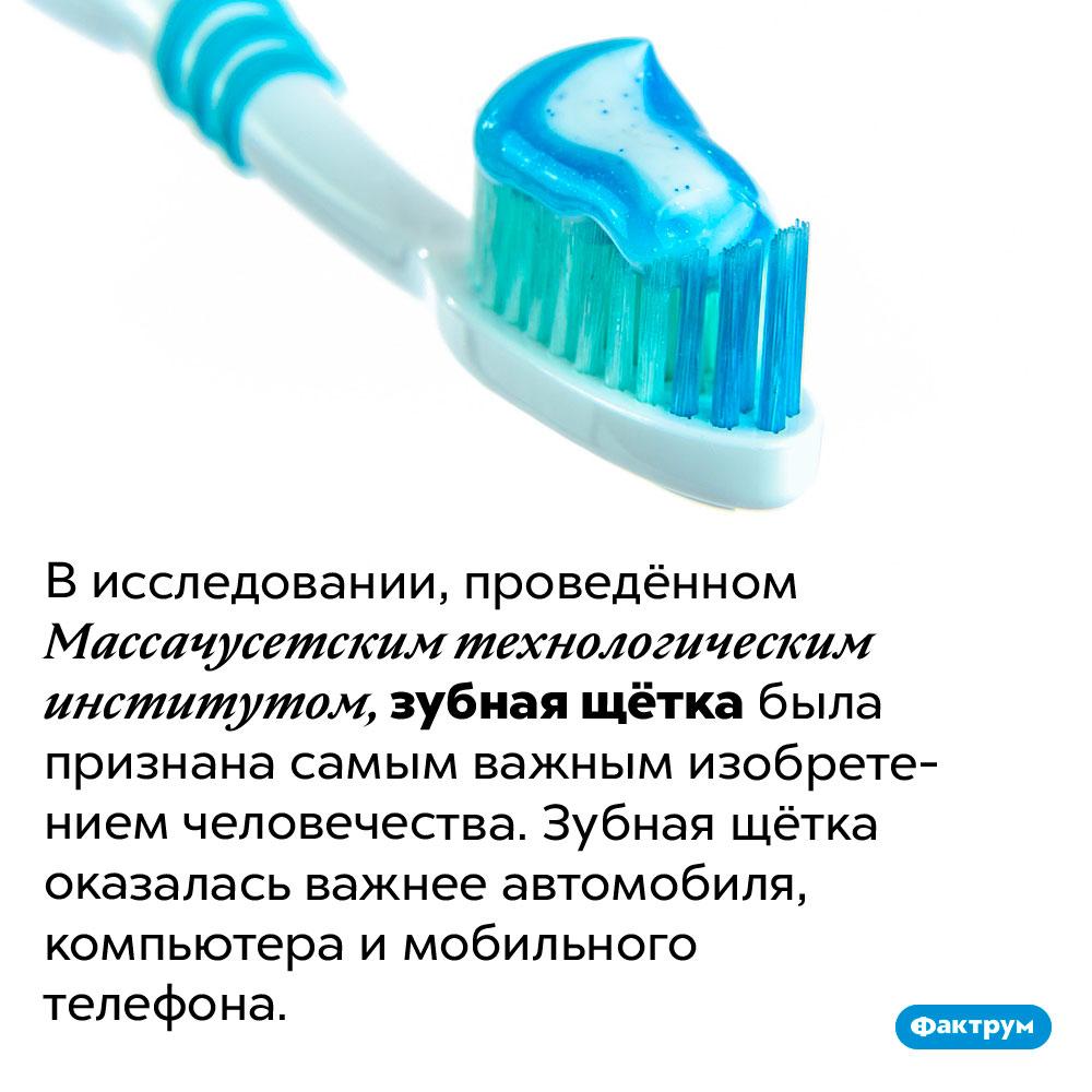 Зубная щётка была признана самым важным изобретением человечества. В исследовании, проведённом Массачусетским технологическим институтом, зубная щётка была признана самым важным изобретением человечества. Зубная щётка оказалась важнее автомобиля, компьютера и мобильного телефона.