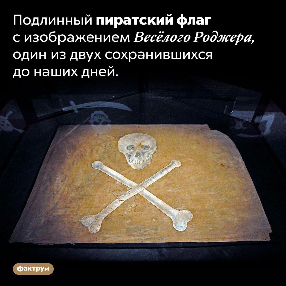 Подлинный пиратский флаг сизображением Весёлого Роджера, один издвух сохранившихся до наших дней.