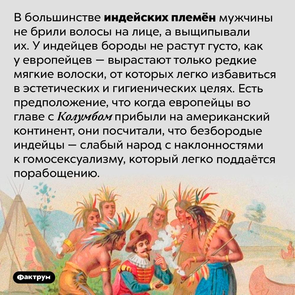 Индейцы небрили волосы налице, авыщипывали. В большинстве индейских племён мужчины не брили волосы на лице, а выщипывали их. У индейцев бороды не растут густо, как у европейцев — вырастают только редкие мягкие волоски, от которых легко избавиться в эстетических и гигиенических целях. Есть предположение, что когда европейцы во главе с Колумбом прибыли на американский континент, они посчитали, что безбородые индейцы — слабый народ с наклонностями к гомосексуализму, который легко поддаётся порабощению.