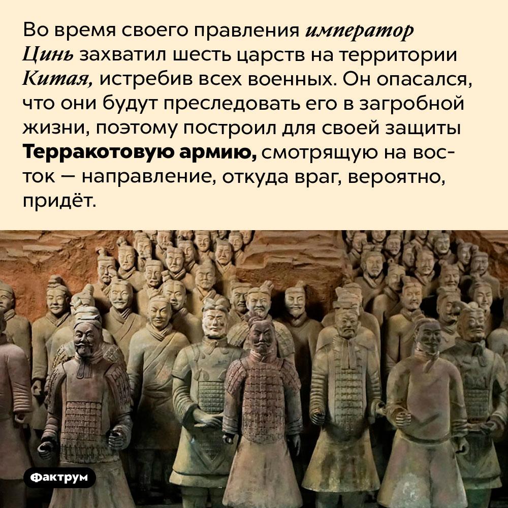 Император Цинь Шихуанди построил Терракотовую армию потому что боялся мести. Во время своего правления император Цинь захватил шесть царств на территории Китая, истребив всех военных. Он опасался, что они будут преследовать его в загробной жизни, поэтому построил для своей защиты Терракотовую армию, смотрящую на восток — направление, откуда враг, вероятно, придёт.
