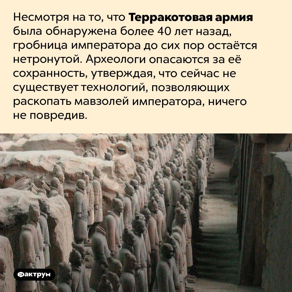 Гробница императора Цинь Шихуанди досих пор нераскопана. Несмотря на то, что Терракотовая армия была обнаружена более 40 лет назад, гробница императора до сих пор остаётся нетронутой. Археологи опасаются за её сохранность, утверждая, что сейчас не существует технологий, позволяющих раскопать мавзолей императора, ничего не повредив.