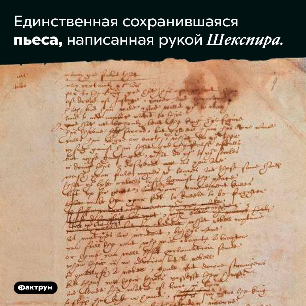 Единственная сохранившаяся пьеса, написанная рукой Шекспира.