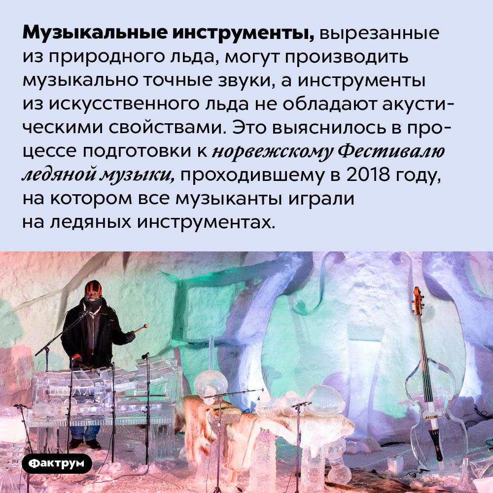 Намузыкальных инструментах изприродного льда можно играть, аизискусственного — нет. Музыкальные инструменты, вырезанные из природного льда, могут производить музыкально точные звуки, а инструменты из искусственного льда не обладают акустическими свойствами. Это выяснилось в процессе подготовки к норвежскому Фестивалю ледяной музыки, проходившему в 2018 году, на котором все музыканты играли на ледяных инструментах.